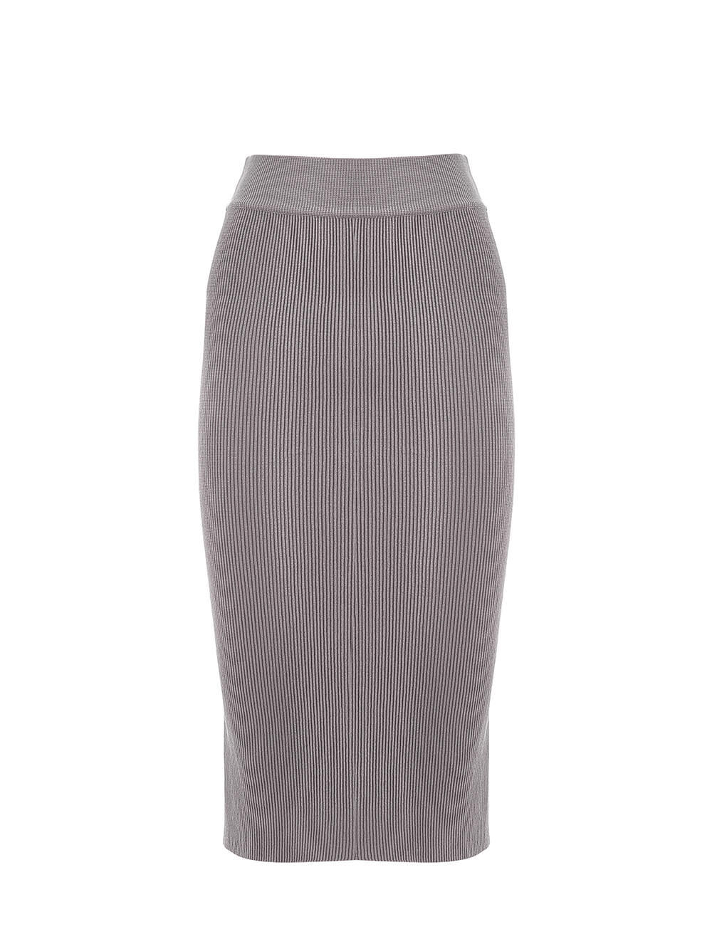 Женская юбка серого цвета из шерсти - фото 1