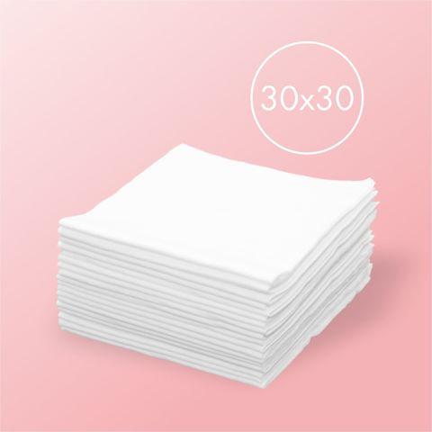 Одноразовые салфетки спанлейс, белые 100шт, 30*30