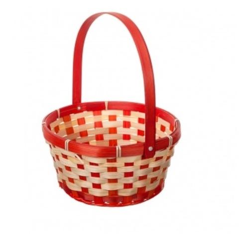Корзина плетеная (бамбук), размер:D21хH24 см, цвет:красный