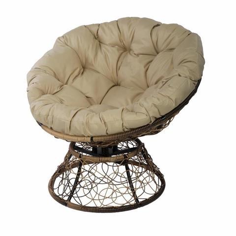 Кресло Papasan с пружиной, цвет плетения светло-коричневый, цвет подушки бежевый