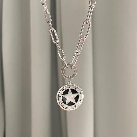 Колье-цепь с круглой подвеской Звезда в круге (белый, серебристый)