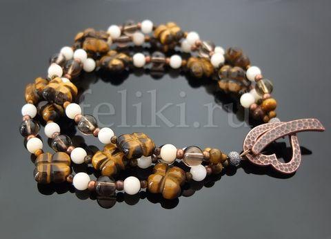 многорядный браслет из тигрового глаза, белого коралла и раухтопаза_фото