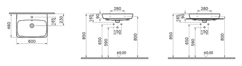 Раковина VitrA Metropole 5662B003-0001, 60x46 см схема