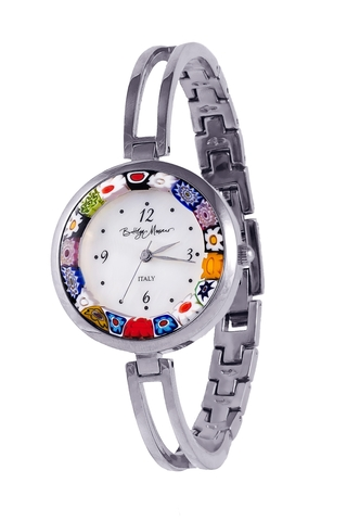Часы из муранского стекла на металлическом серебристом браслете