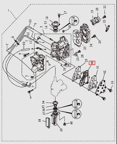 Крышка выпуска внутр. для лодочного мотора T9.8 Sea-PRO (2-30)