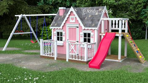 детский игровой домик с качелями и горкой