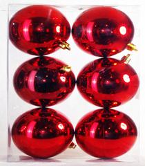 Елочные украшения - набор шаров 6 штук диаметр 8 см, красный