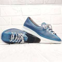 Летние туфли кроссовки женские Wollen P029-2096-24 Blue White.