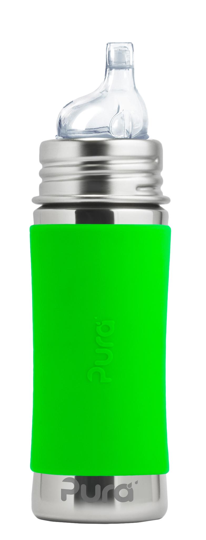 Детская стальная бутылочка-поильник Pura Kiki 325 мл (6 мес+) (зеленый)