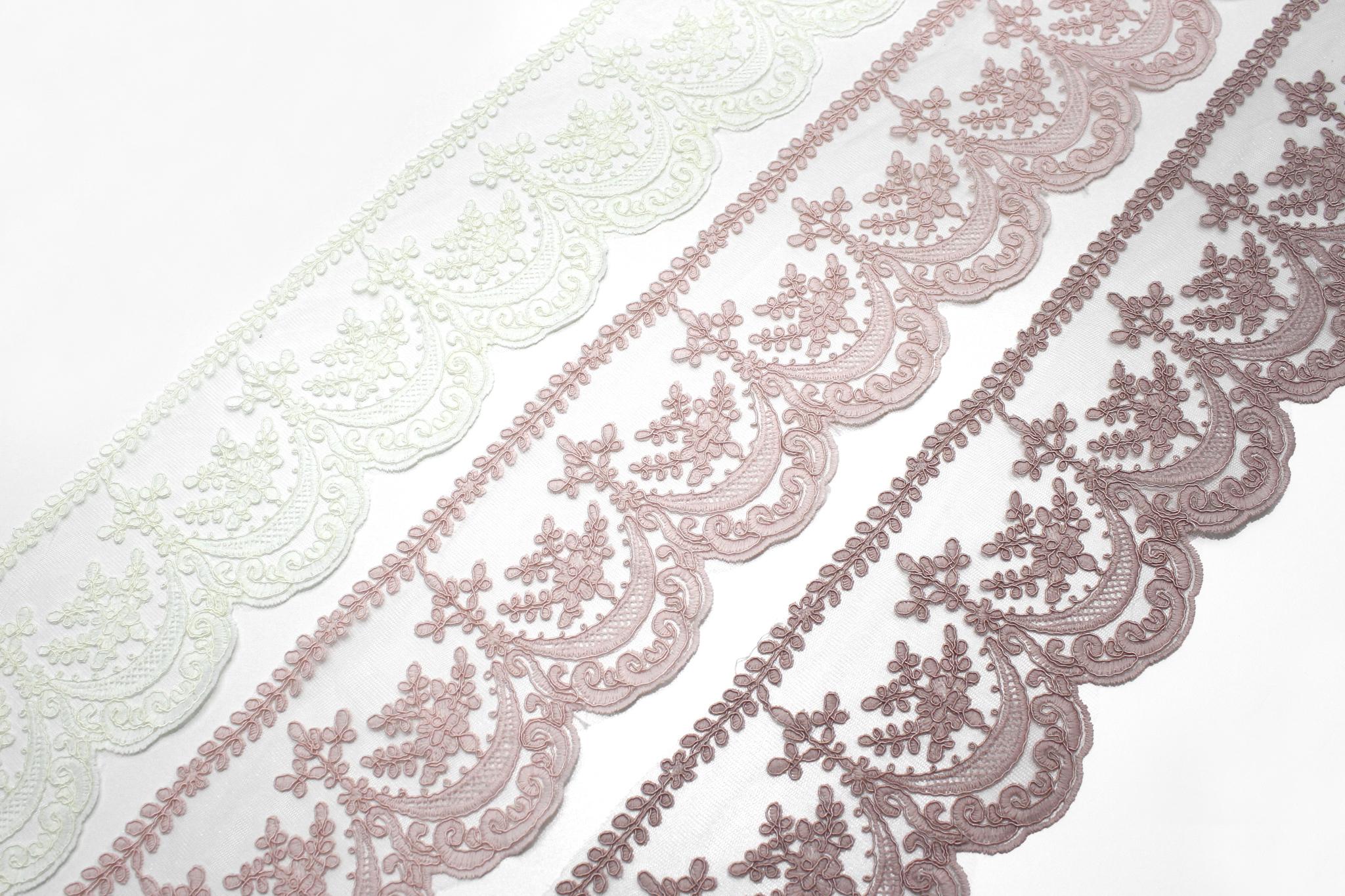 Кружево розовое(листики), 13 см