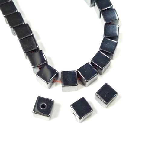 Бусины гематит кубик 8 мм черный 1 штука