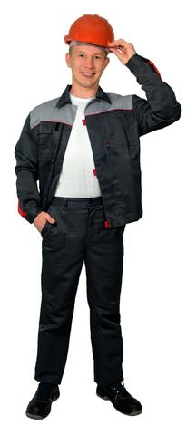 Костюм Фаворит муж. куртка, брюки,  грета,серый со св.-серым