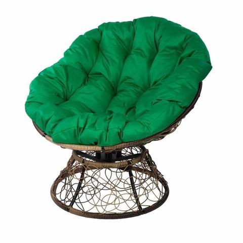 Кресло Papasan с пружиной, цвет плетения светло-коричневый, цвет подушки зелёный