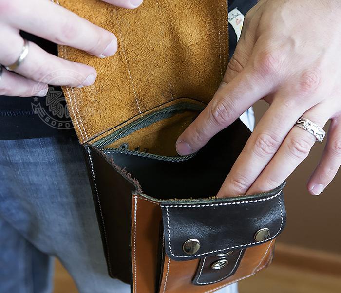 BAG379-2 Мужская кожаная сумка на пояс коричневого цвета, ручная работа фото 11