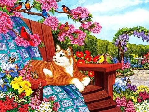 Алмазная Мозаика 40x50 Рыжий кот отдыхает