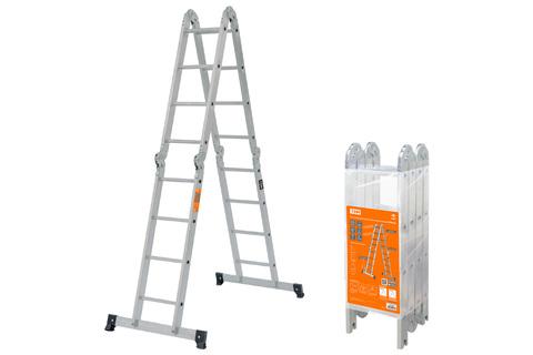 Лестница-трансформер алюминиевая ЛТА4х4, 4 секции по 4 ступени, h=433/209/117 см, 11,7 кг TDM