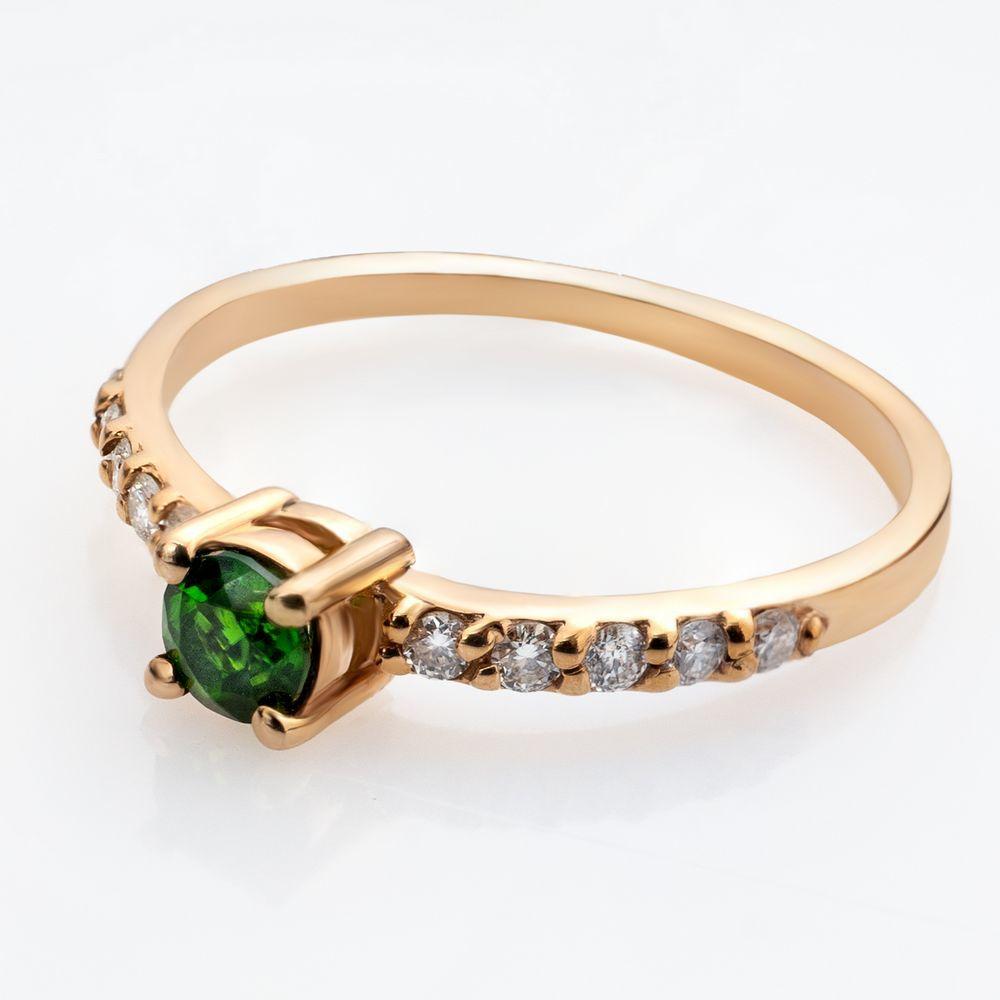 Золотое кольцо с хромдиопсидом и бриллиантами