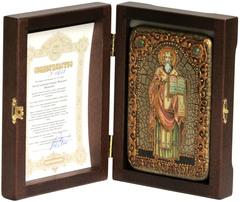 Инкрустированная икона Святой равноапостольный Мефодий Моравский 15х10см на натуральном дереве, в подарочной коробке