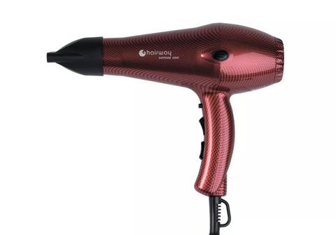 Фен Hairway Sapphire Ionic, 2100 Вт, 2 насадки, красный