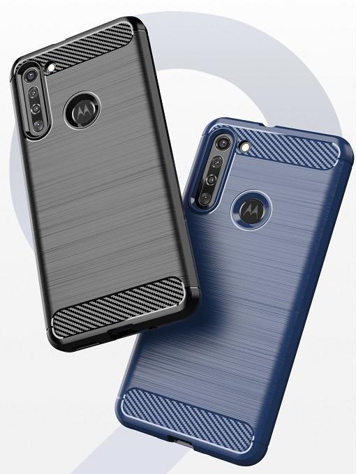 Мягкий чехол синего цвета под карбон на Motorola G8, серия Carbon от Caseport