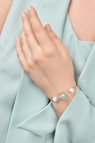 Браслет со стразами Franchesca Ca'D'oro Emerald Silver 030OB