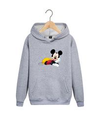 Толстовка серая с капюшоном (худи, кенгуру) и принтом Микки Маус (Mickey Mouse) 001