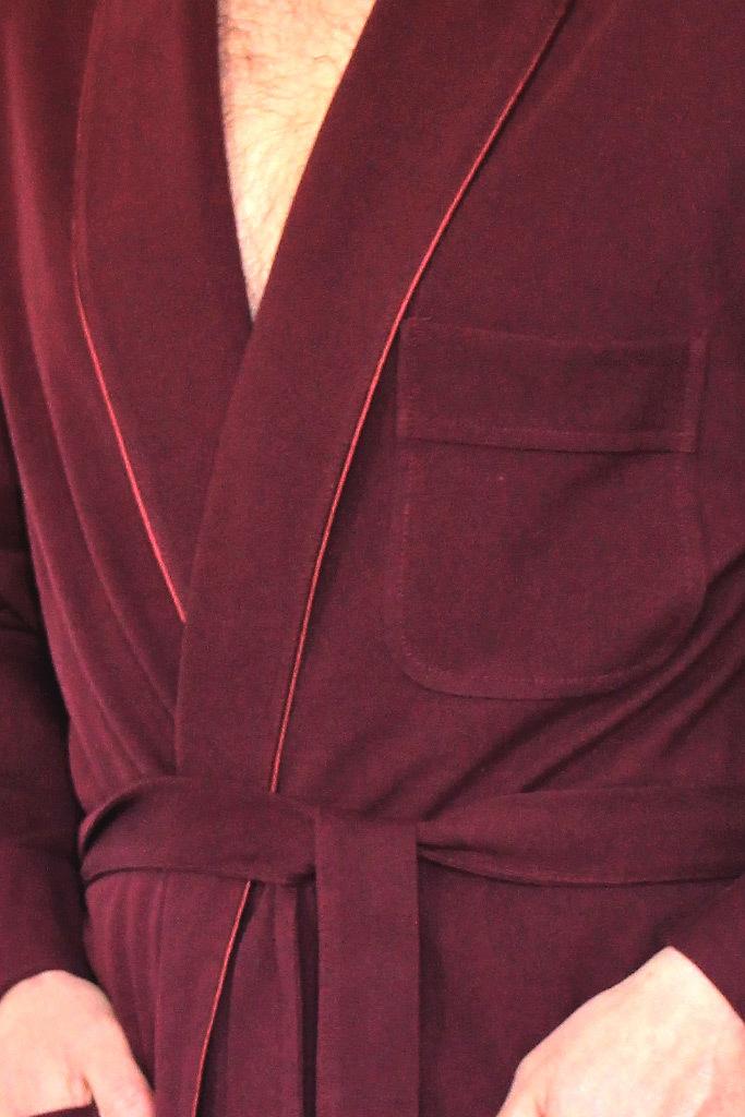Бордовый мужской халат из хлопка B&B