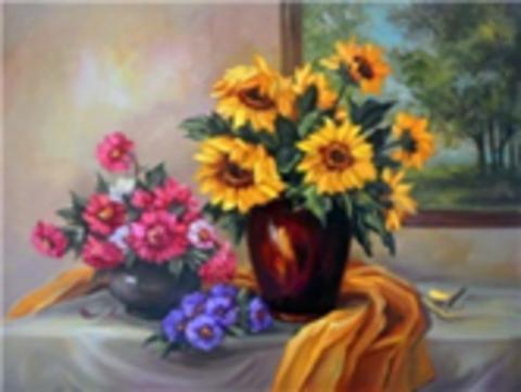Картина раскраска по номерам 40x50 Три разных букета