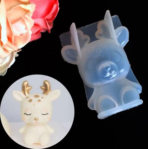 Молд силиконовый 3D  ОЛЕНЕНОК тонкий силикон  (75х60мм)