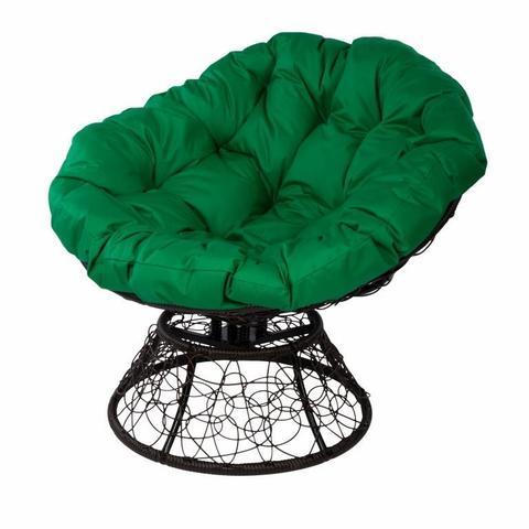 Кресло Papasan с пружиной, цвет плетения коричневый, цвет подушки зеленый