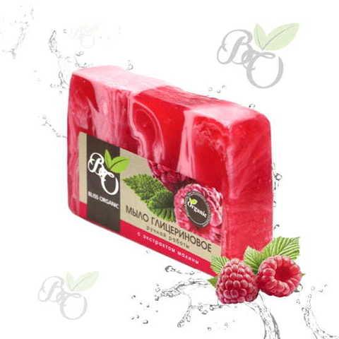 Глицериновое мыло ручной работы «Малина», Bliss organic 100 гр