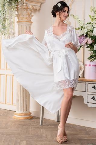 Длинный халат пеньюар MIA-Amore EDITA ЭДИТА 3679 белый