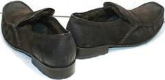 Мокасины из кожи. Зимние туфли для мужчин Welfare 555841 Dark Brown Nubuk & Fur.