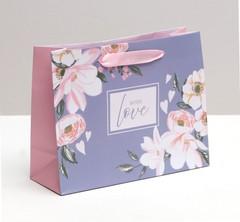 Пакет ламинированный горизонтальный With love, 22 × 17.5 × 8 см, 1 шт.