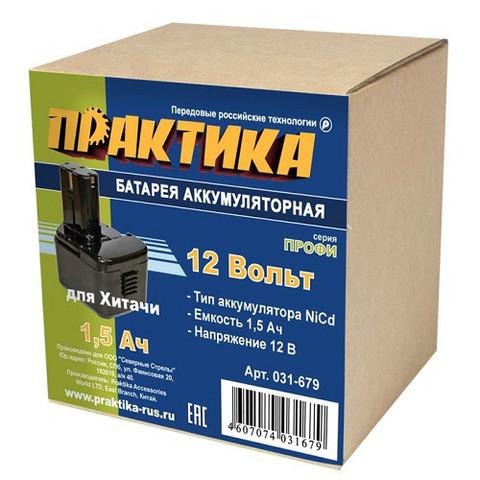 Аккумулятор для HITACHI ПРАКТИКА 12В, 1,5Ач, NiCd, коробка (031-679)