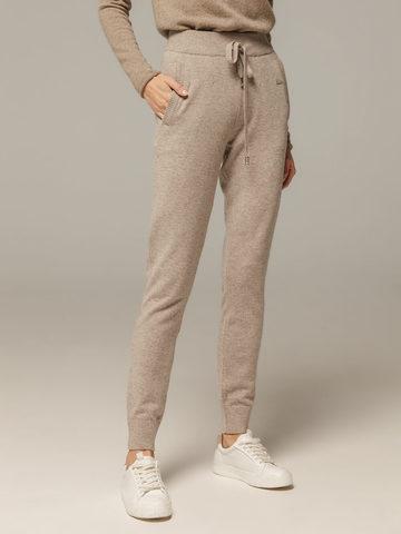 Женские брюки песочного цвета с карманами из шерсти и кашемира - фото 3