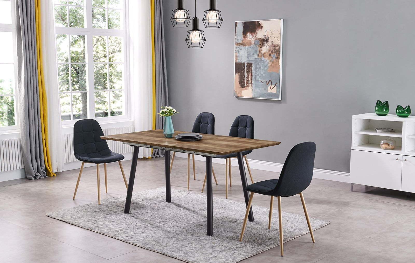 Стол DT1050 орех и стулья DC5081A синие