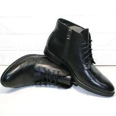 Черные зимние ботинки мужские кожаные с мехом Ikoc 3640-1 Black Leather.