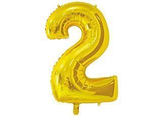 Цифра 2 золотая 65 см