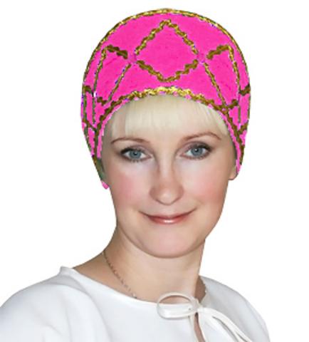 Русский народный кокошник розовый