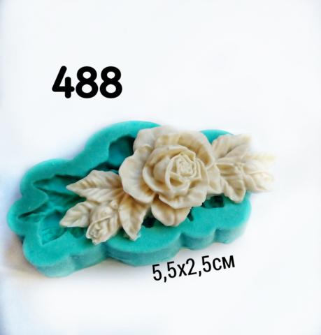 0488 Молд Роза с листьями