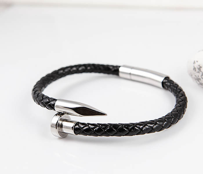 BM536 Мужской браслет «Гвоздь» из кожаного шнура и стали