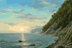 Картина раскраска по номерам 40x50 Дикое каменистое побережье
