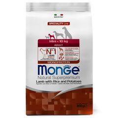 Корм для собак мелких пород Monge Adult Mini Lamb Rice Potatos с ягненком рисом картошкой
