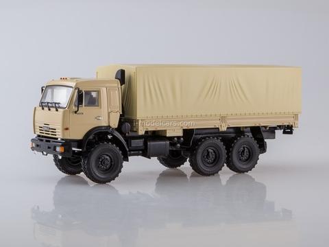 KAMAZ-43118 6x6 flatbed truck with awning beige 1:43 PAO KAMAZ