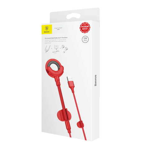 Кабель Baseus O-type Car Mount Cable Red