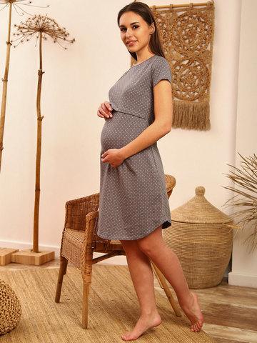 Мамаландия. Сорочка для беременных и кормящих с горизонтальным секретом, горох/серый (розовый горох)