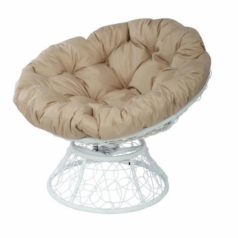 Кресло Papasan с пружиной, цвет плетения белый, цвет подушки бежевый