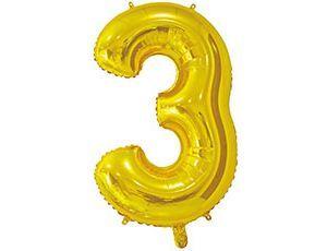 Цифра 3 золотая 65 см
