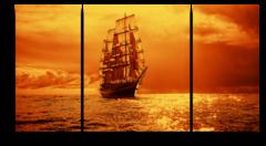 """Модульная картина """"Корабль, уплывающий в закат"""""""